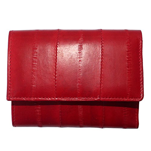 Genuine Eel Skin Leather Trifold Small Wallet Credit Card Wallet Coin Purse (Red)