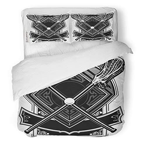 Emvency Decor Duvet Cover Set Full/Queen Size Base Lacrosse Sticks Equipment and Ball on Ornate Graphic Bat Clipart Drawing Game 3 Piece Brushed Microfiber Fabric Print Bedding Set Cover]()