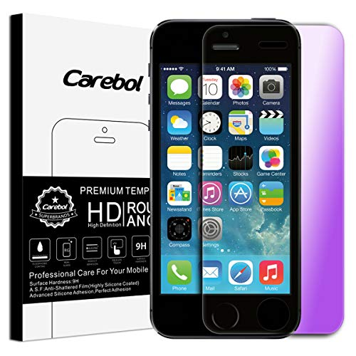 Carebol Anti Blue Light Tempered Glass Screen Protector for iPhone SE/iPhone 5/5s/iPhone 5c [4 inch] Eye Protect,Explosion-Proof Screen,High Definition [1 Pack]