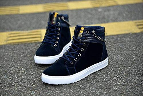 tazimall Fashion Mens Tide Shoes Chain Canvas Shoes High to Help Casual Shoes