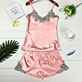 Software : AIMTOPPY Women Sexy Sliver embroidery stitching silk sexy pajama suit (L, Pink)