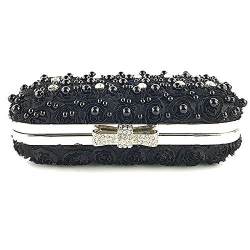 Soirée Bandoulière Dentelle perlées Cheongsam Sac Embrayage à des Femmes Black Messenger Messenger Perles la perles Robe de avec main Satchel wXrqXaP