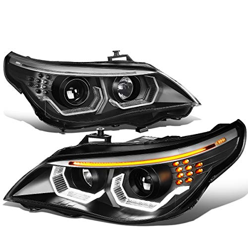 - Pair LED Turn Signal+Dual Crystal U-Halo Projector Headlight Lamps for BMW E60 525i 530i 545i 550i 04-07