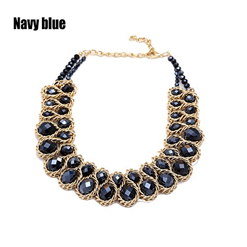 AWAYTR  Ladies Choker Necklace Gold Tone Fashion Statement Big Multi Color Crystals Navy blue (Black Blue Jewelry)