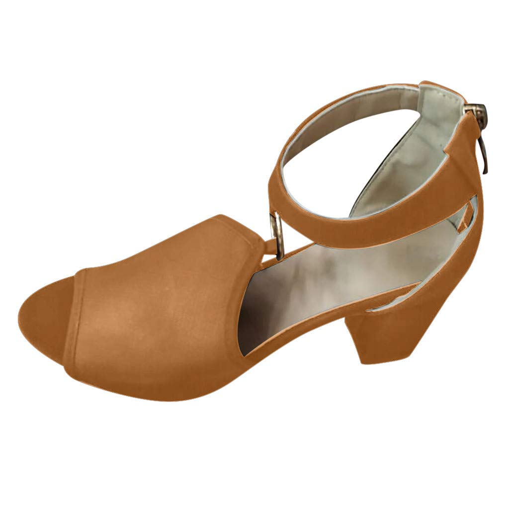 Fastbot Women's Summer Sandals Hollow Strap Buckle Thick Heel Breathable Brown