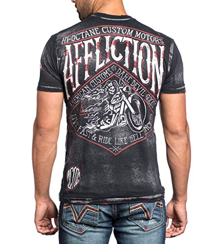Affliction Men Shirt Motorcycle Skull Short
