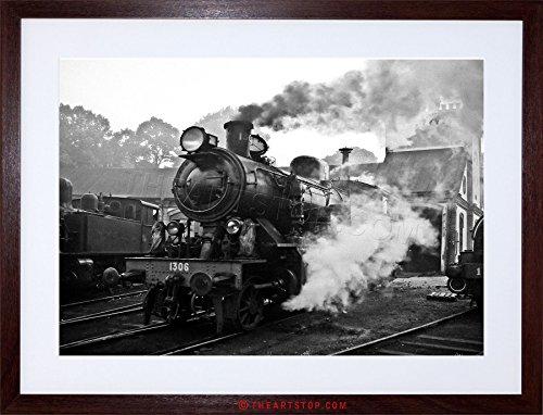 Vintage Photo Steam Train Black White Engine Framed Print -
