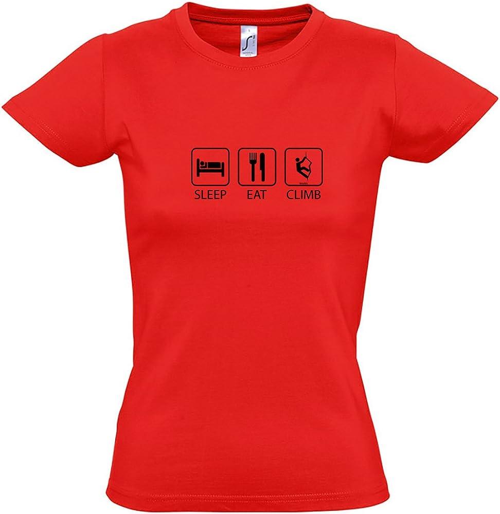Camiseta Escalada Sleep Eat and Climb Manga Corta Mujer ...