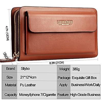 Sllybo Men Clutch Bag Business Handbag Wallet for Men Organizer Zipper Checkbook Wrist Bag