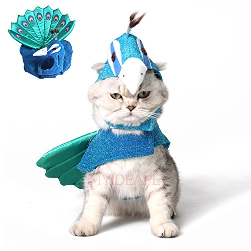 Pet Plush Outfit Peacock Costume - with Hood for Cats Jumpsuit Halloween Dress Up