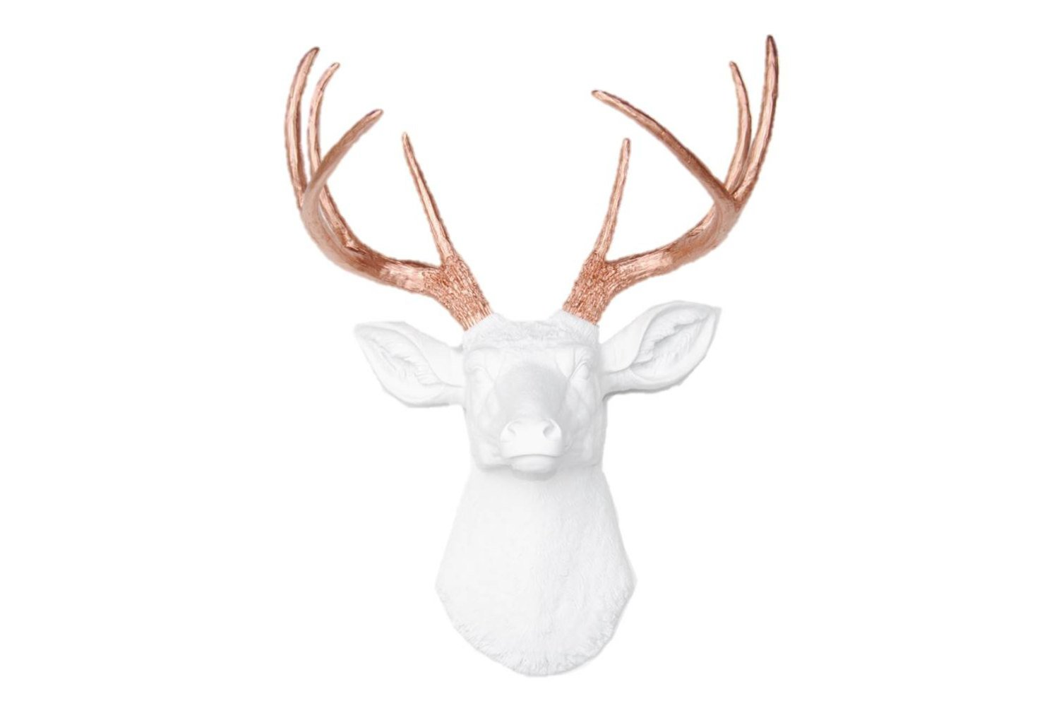 Near and Deer D0111 Faux Taxidermy 8 Point Deer Head Wall Mount, White/Rose Gold
