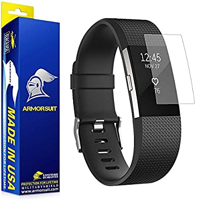Fitbit Charge 2 Anti-Glare Screen Protector [2 Pack] [Full Coverage] ArmorSuit MilitaryShield w/ Lifetime Replacements - Matte Screen Protector For Fitbit Charge 2