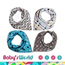 Bibs,Baby Bandana Drool Bibs with Snaps for Boys and Girls Set 4 Pack of Extra Absorbent 100% Organic Cotton Modern Baby Gift Set for Drooling Feeding and Teething