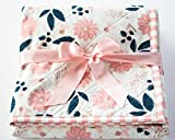 Baby Quilts for Girls with Blush Pink and Navy Florals and Pink Striped Border