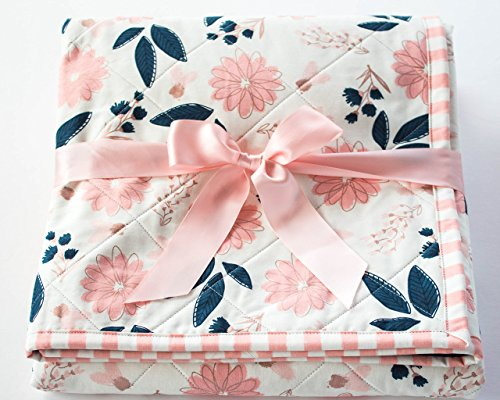 Baby Quilts for Girls with Blush Pink and Navy Florals and Pink Striped Border by Little b Cotton Shoppe