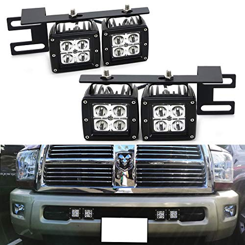 - iJDMTOY Dual LED Pod Light Fog Lamp Kit For 2010-18 Dodge RAM 2500 3500, Includes (4) 20W CREE LED Cubes, Lower Bumper Area Mounting Brackets & On/Off Switch Wiring Kit