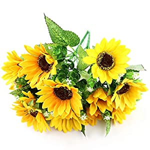 "WEWILL Artificial Flower Bouquet 8.6"" Artificial Sunflower Artificial Plant for Home Decor Party Wedding Garden Office Decoration 98"