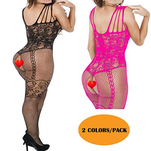 KHUFUZI Women's 2 Pack Sexy Lingerie Babydoll Stretch Stockings Sleepwear Party Dress Pack ()