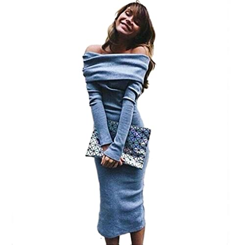 Sandistore Women Long Sleeve Off Shoulder Winter Stretch Bodycon Long Dress