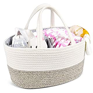 Baby Diaper Caddy Organizer - Changing Table Diaper Organizer - Portable Rope Nursery Storage Bin with Removable Insert - Baby Shower Gift Basket - Newborn Registry Must Haves (Brown)