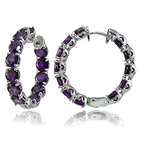 Sterling Silver African Amethyst 28mm Hoop Earrings