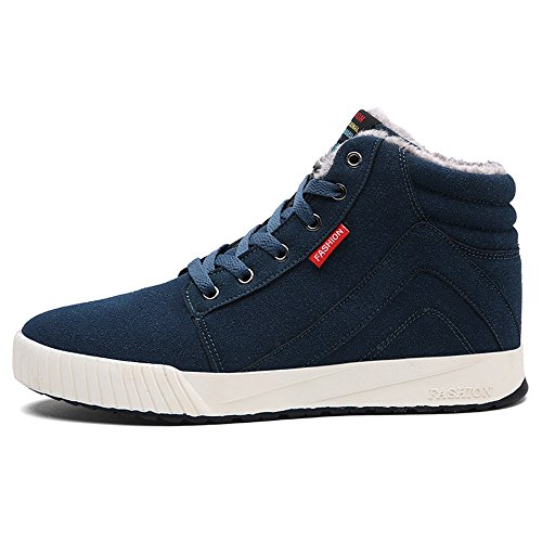 JACKSHIBO Men's Winter Warm Ankle Boots Fashion Lace-up Comfortable Casual Shoes Sneakers Green 31R9to