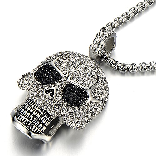 Steel Large Sugar Skull Pendant Necklace for Men Women with Cubic Zirconia and 30 inches Wheat (Skull Chain)