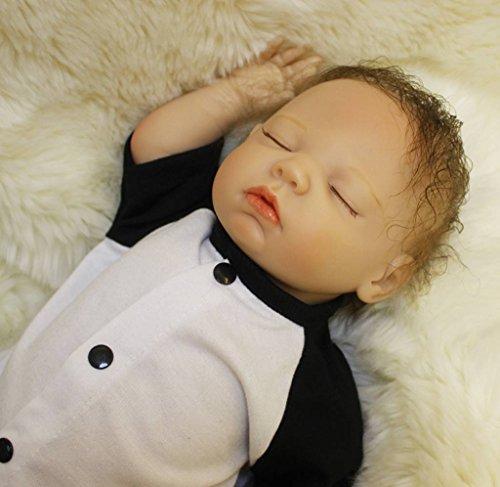 Reborn Baby Dolls Boy Silicone Newborn Eyes Closed Sleeping 18 inch Black and White (Real Musical Doll)