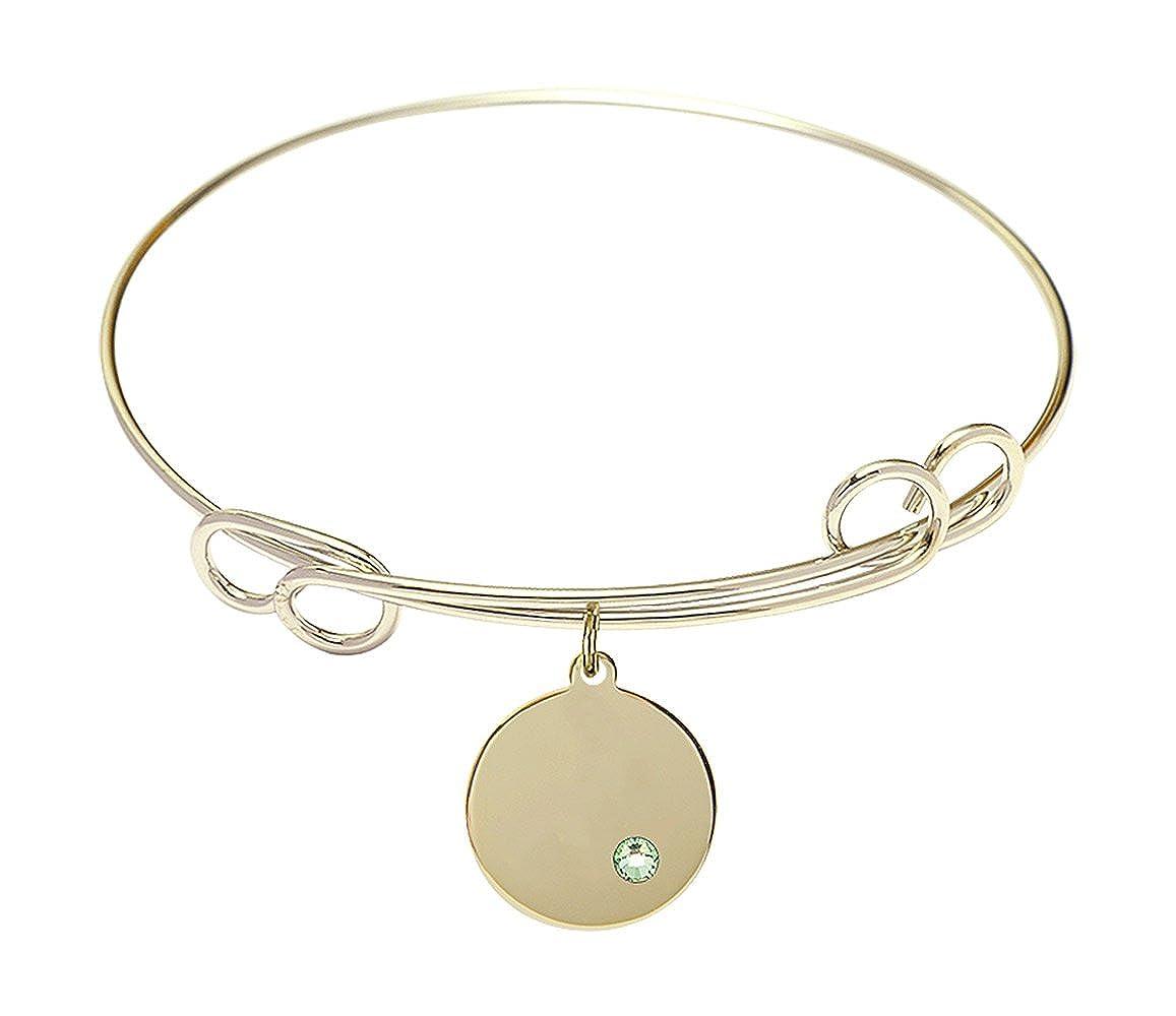 DiamondJewelryNY Double Loop Bangle Bracelet with a Plain Disc Charm.