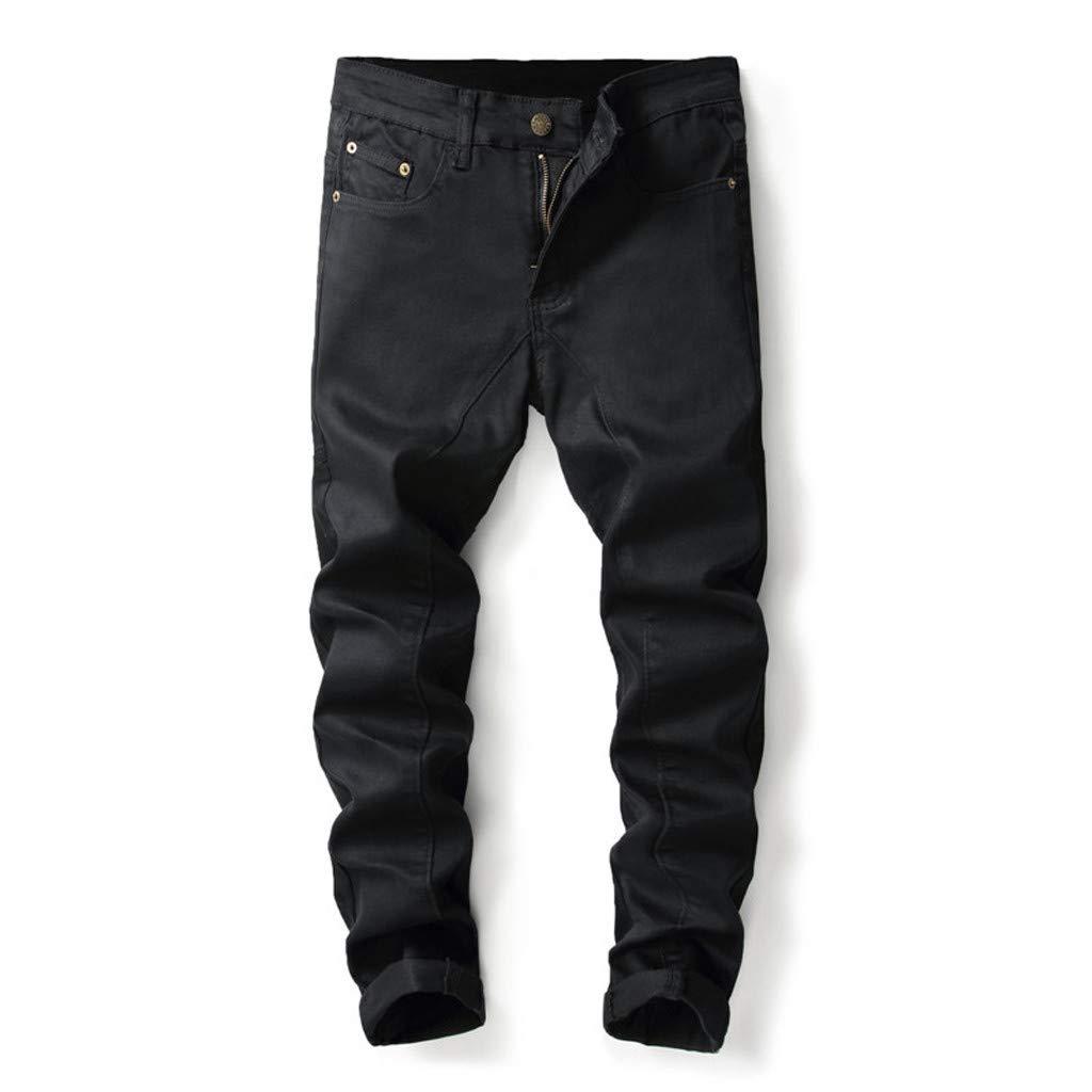 Aleola Men's Personality Ripped Slim Fit Zipper Stretch Denim Trousers (Black,31) by Aleola_Men's Pants
