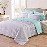 Tebery 3 Pieces Duvet Cover Set Soft Microfiber Bedding with Zipper Closure, Gray and Teal Turquoise (Queen)
