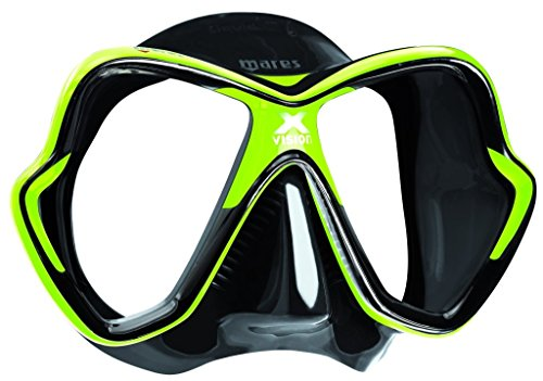 Mares X-Vision Scuba Diving Silicone Mask, Lime/Black