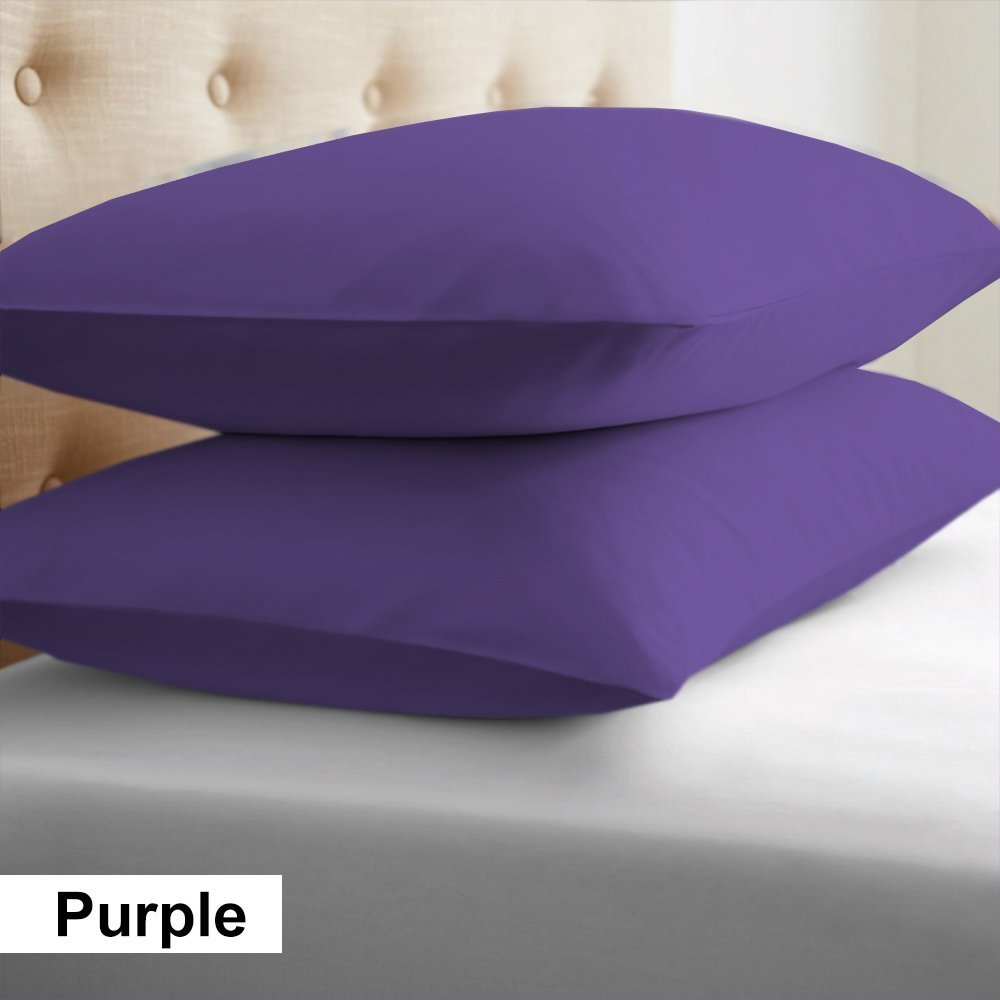 2-Piece- Euroshams ~ Solid Pattern 100% Pima Cotton 500 Thread- Count European Super Soft 2 PC Pillow Cases (32 x 32 Inch (81cm x 81cm ) , Purple)
