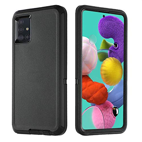 smartelf Case for Samsung A51 Heavy Duty Shockproof Drop Protection Dual Layer Protective Cover for Samsung A51 6.5 inch [4G Version]-Black