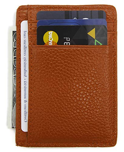DEEZOMO RFID Blocking Genuine Leather Credit Card Holder Front Pocket Wallet With ID Card Window - Brown