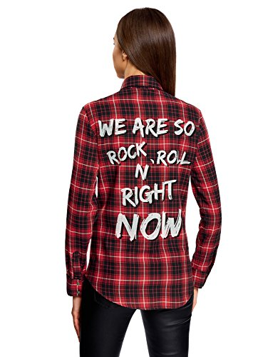 oodji Ultra Mujer Camisa Ancha con Inscripción en la Espalda Rojo (4529C)