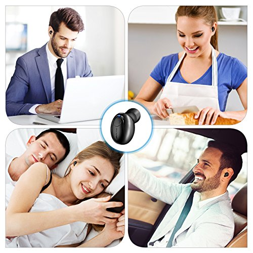Mpow Single Wireless Earbud, V4.1 Mini Bluetooth Earbud, 6-Hr Playing Time Car Bluetooth Headset Invisible Headphone with Mic, Cell Phone Bluetooth Earpiece for iPhone Samsung Android (Two Charger) - Image 6