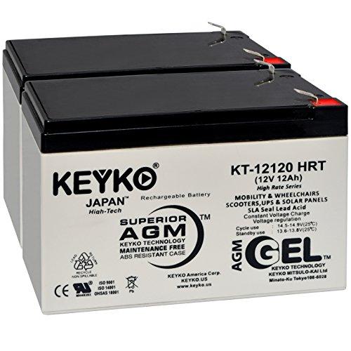 (Battery 12V 12Ah - Fresh & Real 14.0 Amp - Gel Deep Cycle AGM/SLA Designed for Generic Use - Genuine KEYKO KT-12120 HRT - F2 Terminal - 2 Pack)