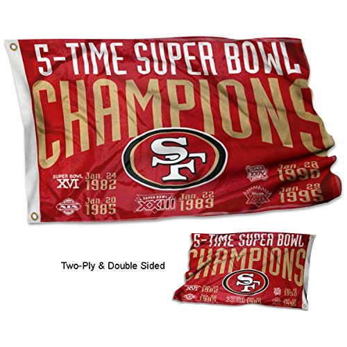 San Francisco 49ers Double Sided 5 Time Super Bowl Champions Flag (San Bowl Francisco 49ers Super)