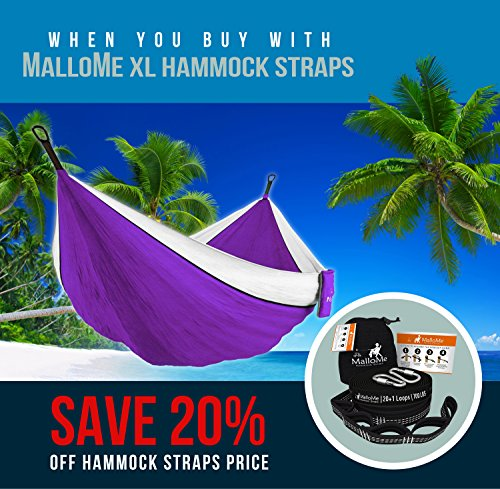 MalloMe Double Portable Camping Hammock - 27 Colors - Heavy Duty Tree Straps Included In Most Colors