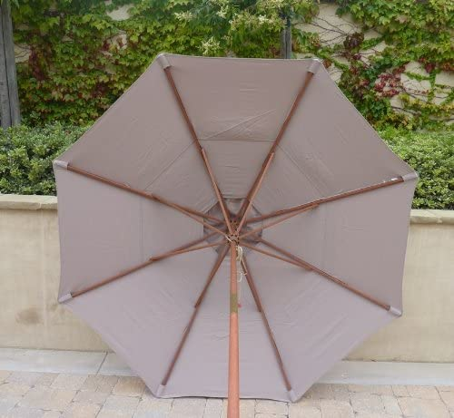 Formosa Covers Double Vented 9ft Market Umbrella Canopy 8 Ribs Taupe Canopy Only