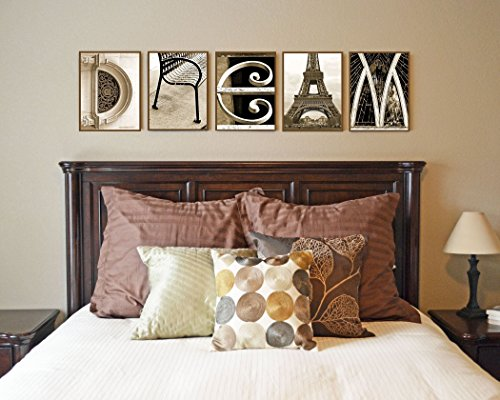 "DREAM - Alphabet Photo Art - My photo letters have been printed on wood! This listing is for FIVE (5) individual 8.5 x 11 inch wooden plaques. The plaques are approx. 3/8"" thick with a beveled edge. by Kona B Designs"