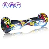 SISIGAD Hoverboard Self Balancing Scooter 6.5'' Two-Wheel Self Balancing Hoverboard with LED Lights Electric Scooter for Adult Kids Gift UL 2272 Certified Fun Edition - Graffiti