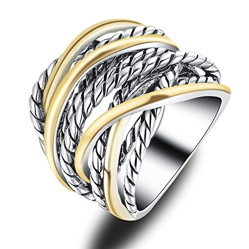 - Mytys 20mm Silver Gold Wide Band Ring 2 Tone Crisscross Intertwined Chunky Rings Unisex Couple Ring 20mm Size 9