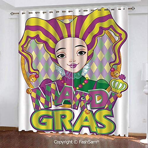 Blackout Curtains Set Room Darkening Drapes Carnival Girl in Harlequin Costume and Hat Cartoon Fat Tuesday Theme Window Treatment Pair for Bedroom(84