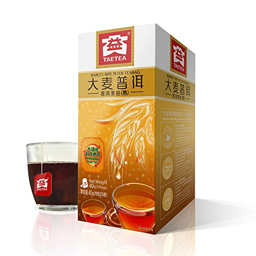TAE TEA Baked Barley Tea Bags - Barley Tea Mixed with Chinese Pu'er Tea Bags, Pu-erh Herbal Tea Bags Bulk - 25 Count Individually Wrapped for Weight Loss