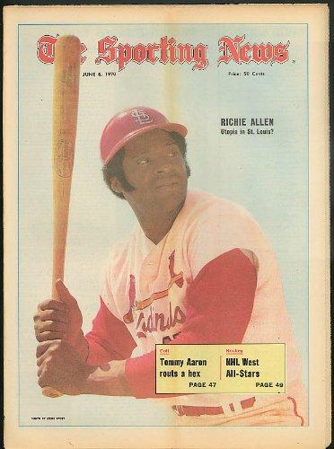 Curt Rod - THE SPORTING NEWS Richie Allen Tommy Aaron Curt Flood Rod Carew 6/6 1970