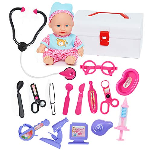 Doctor Kit for Kids with Doll & Doctor Playset Toy - 16pcs Medical Tools with a Sturdy Gift Case for Boys Girls Toddlers -