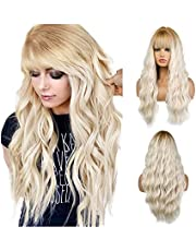 Qaccf Women Long Kinky Curly Wavy Full Bang Wig for Party and Daily Wear