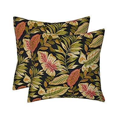 "Resort Spa Home Decor Set of 2 - Indoor/Outdoor Square Decorative Throw/Toss Pillows - Twilight Black, Green, Tan, Burgundy Tropical Palm Leaf - Choose Size (17""): Home & Kitchen"